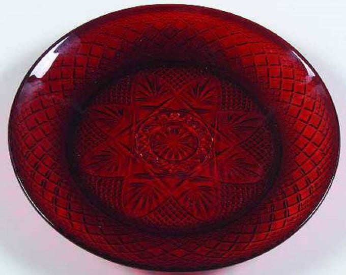 2 - Red Christmas Luncheon Plate, Cristal D'Arques Durand, Christmas Bowl, Ruby Red Lunch Plates, Pressed Cut Glass, Dinnerware