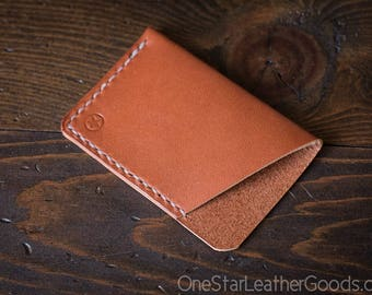 The Minimalist: micro card wallet, business card case, bridle leather - chestnut