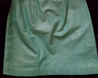 Mint Leather Miniskirt