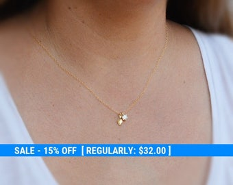 Gold necklace, dainty necklace, unique necklace, cubic zirconia necklace, delicate necklace,gift 4403