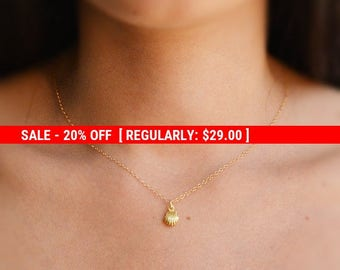 SALE 20% OFF Gold necklace, shell necklace, small necklace, tiny pendant, gold filled necklace, petite necklace -524