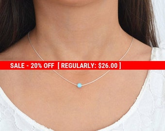SALE 20% OFF Blue Opal necklace,Opal Jewelry,October birthstone,Sterling Silver,Opal Necklace Silver,Dainty Opal Necklace,Bridesmaids