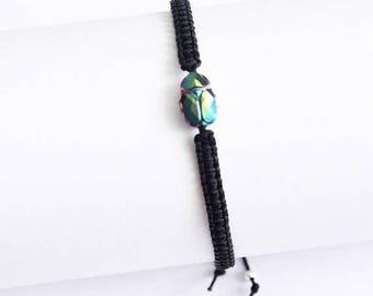 Christmasinjuly Scarabeus Green Swarovsky Scarab Bracelet Crystal Bracelet Friendship Bracelets Woven bracelet black linen twine minimalist