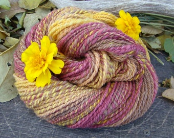 Hand Spun and Dyed Corriedale Cross Fractal Yarn - Falling