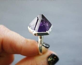 Mid Summer SALE Raw Amethyst Ring // Amethyst Ring // Silver Ring // Gemstone Ring // Raw Amethyst // February Birthstone // Crystal Ring