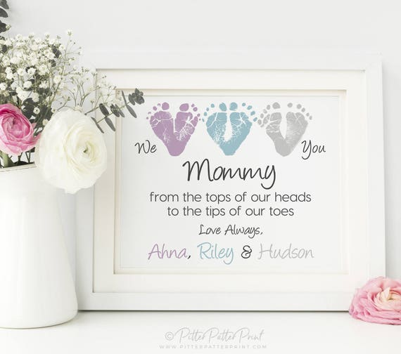 Mothers day gift from triplets new mom personalized we mothers day gift from triplets new mom personalized we love you baby footprint art print you childs feet 8x10 or 11x14 inches unframed negle Images