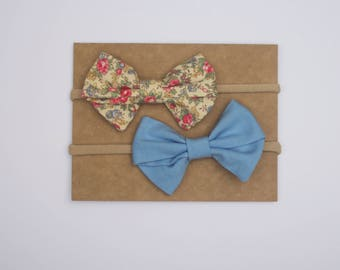 Muted Floral Bow Set