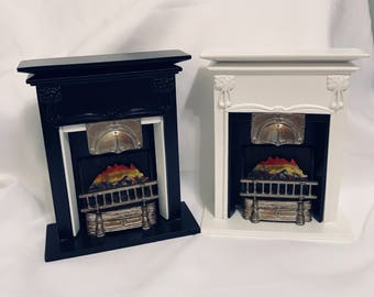"Dollhouse Miniature 1"" Scale Fireplace Black or White"