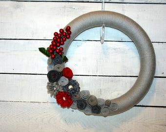 Wreath | Christmas Wreath | Holiday Wreath | Yarn Wrapped Christmas Wreath