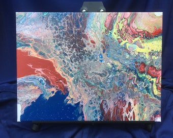 "Abstract, Original Art, Acrylic Pour Painting, 12x16"" canvas"