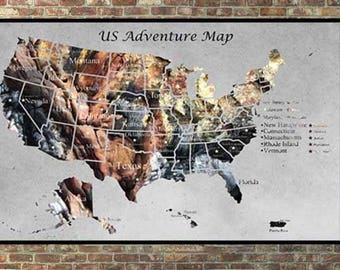 State Map Wall Art Etsy - Us map canvas wall art