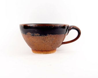 Soup or latte mug in rustic copper brown and rich glossy black