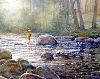 Man Fishing - Art Tile Print on Ceramic with Hook or with Feet Indoor Use -Fishing, Sunrise, Gift for Men