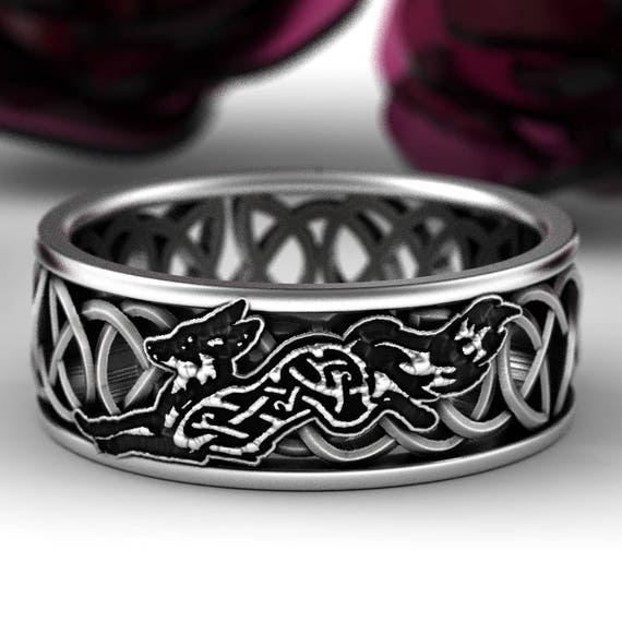 Celtic Fox Silver Ring, Sterling Fox Wedding Band, Womens Wedding Band, Irish Wedding, Fox Jewelry, Celtic Knot Ring, Custom Size 1184