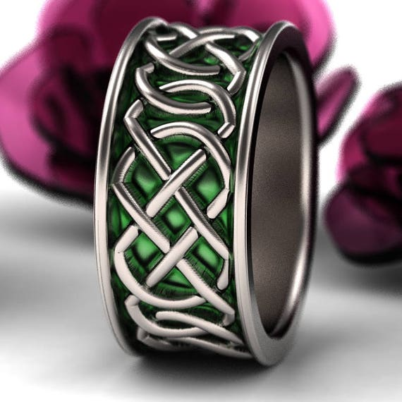 RESERVED FOR Raichael Celtic Wedding Ring With Green Enamel Murphy Infinity Knotwork Design in 10K Gold Made in Your Size CR-268