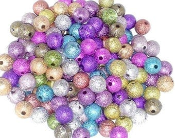 set of 50 stardust beads - 8mm - bright, multicolored