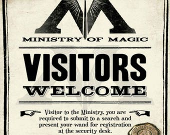 Harry Potter Printable Ministry of Magic Visitors Welcome Sign Wall Art Decor Hogwarts Digital Download