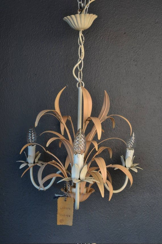 Beautiful painted toleware chandelier (RESERVED)