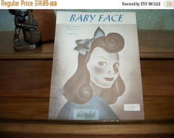 Baby Face Antique Sheet Music Vocal Piano Guitar Benny Davis Swing Love Song Vintage 1926 Remick Music Co.