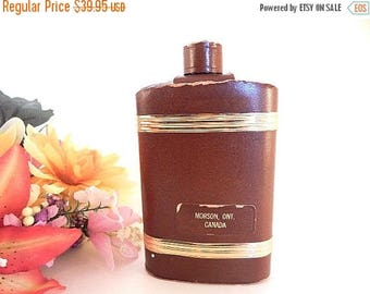 Flask Leather Wrapped Glass Liquor  Bottle Vintage Barware Morson Ontario Canada Collectible Gift for Him