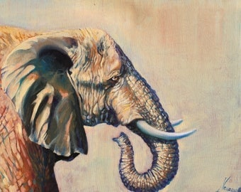 Elephant canvas wall art- elephant painting-large painting-elephant home decor, elephant art, elephant painting, canvas art, wildlife art