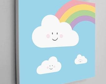 Rainbow Canvas Wrap, Kids Rainbow Art, Rainbow Nursery Art, Rainbow Kids Decor, Kids Canvas, Nursery Canvas Art, Kids Room Decor, Cute Art