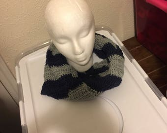 Navy and Gray  Infinity  Scarf