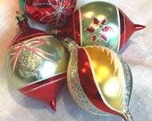 Vintage Christmas Ornaments Glass Stencils Teardrop Shapes