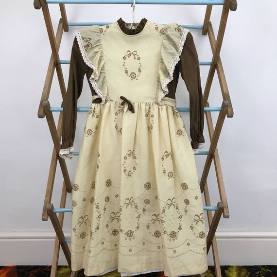1970s girls vintage dress hippie prairie brown flower power sundress age 5 approx victoriana bridesmaid 70s wedding