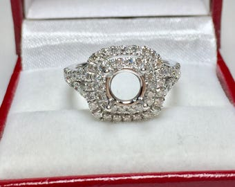 14 Karat White Gold Diamond Double Halo Semi-Mounted Ring l Engagement Ring Setting