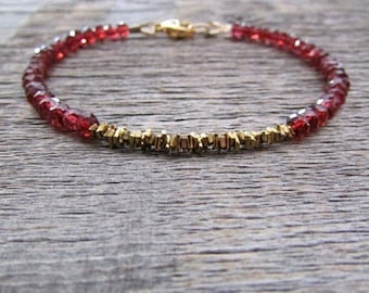 Red Garnet Bracelet, Garnet Gemstone Bracelet, Garnet Jewelry, Bead Stack Bracelet, January Birthstone Bracelet, Gift For Women, Mom Gift