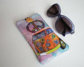Glasses case, Van Hippie, VW, Volkswagen case, sunglasses case, eyeglasses case, case for sunglasses, glasses sleeve, sunglasses sleeve