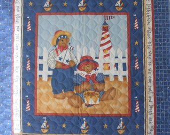 Sailor Bear and Lighthouse.  Baby quilt immediately available for sale.