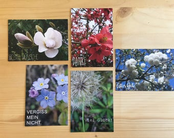 Greeting cards set of 5 | incl. matching envelopes | Format DIN A7