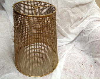 Metal mid century gold  mesh lamp shade made in Italy retro