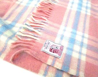 Vintage Wool Throw, Curvon Jewel No 15, Pink Blue Cream Lap Blanket, Sofa Throw, Lap Throw, 1950s