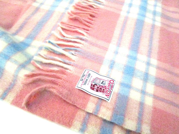 Vintage Wool Throw, Curvon Jewel No 15, Pink Blue Cream Lap Blanket, Sofa Throw, Lap Throw, 1950s