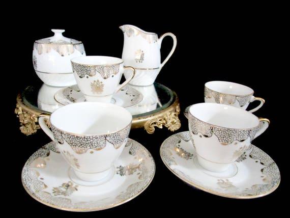 Vintage Espresso Cappucinno Set, 11pc Demitasse Set, Cups Saucers, Lidded Sugar Bowl and Creamer, Ornate Gold Design, Mid Century Elegance