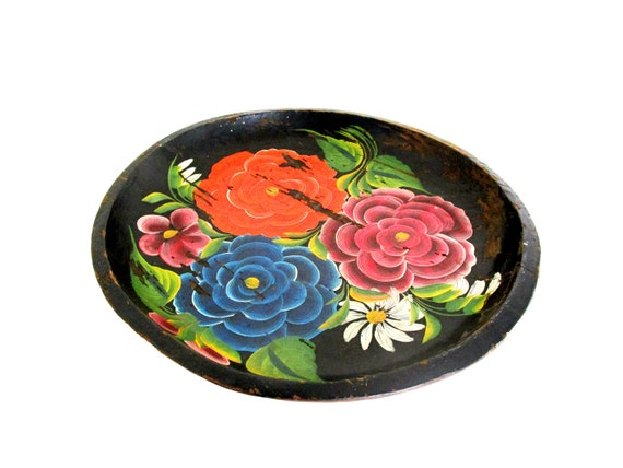 Vintage Wooden Serving Tray, Wood Fruit Bowl, Hand Painted, Shallow Wooden Bowl, Bright Florals, Aged and Distressed