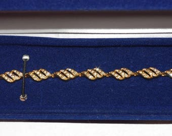 Jackie Kennedy Bracelet - 24K GP with Crystals, Box and Certificate - Sz 7 or 8