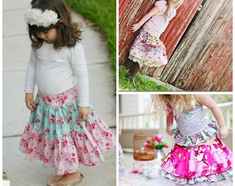 SALE.....Buy 2 get 1 free.....Instant Download PDF Sewing Tutorial Skirts on Parade 3 Skirt Styles Girls 6-12M to 12 Womens xs to xxl