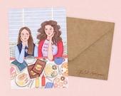 Carte de filles Gilmore par Rachel Corcoran - Rory, Lorelai - meilleurs amis, carte d'anniversaire, fête des mères, cadeau de soeur - Illustration impression