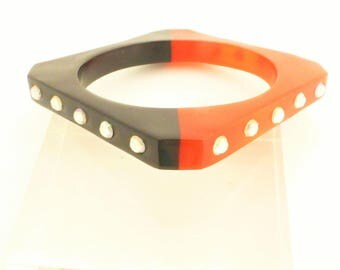 Square Lucite Bangle Bracelet Black And Red with Embedded Rhinestones