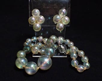 Iridescent Soap Bubble Graduated Bead Necklace and Sterling Earrings Set
