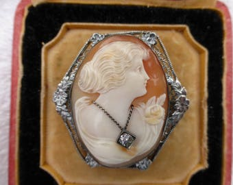 Art Deco 10k White Gold and Diamond Habille Hand Carved Shell Cameo Brooch Pendant Original Box