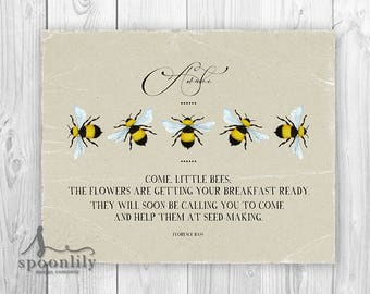Bee Print Come Little Bees Farmhouse Art Print, Bee Sign, Spring Quote, Gardening Decor, Botanical Wall Art, Country Cottage Art, Bumble bee