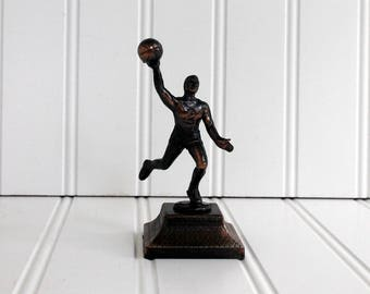 Basketball Player Pencil Sharpener Metal Die Cast Miniature 1980's Vintage New in the Box Figurine