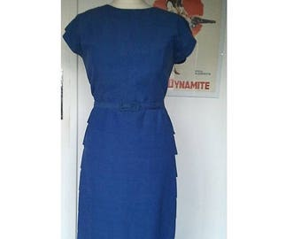 ON SALE Vintage 1950 50s wiggle blue cotton dress pencil bombshell S pin up dita zooey