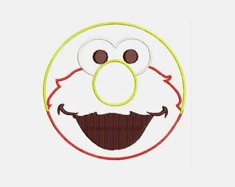 Elmo Face Machine Embroidery Design - Instant Download Applique Design 442A