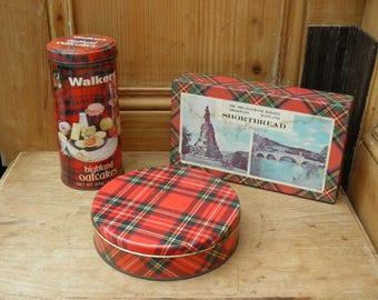 Three Vintage Metal Tartan Tins. Scottish Shortbread Tin, 1950's Tin, Sweet Tin, Scottish Tins, Treasure Chest, lithographic printed.